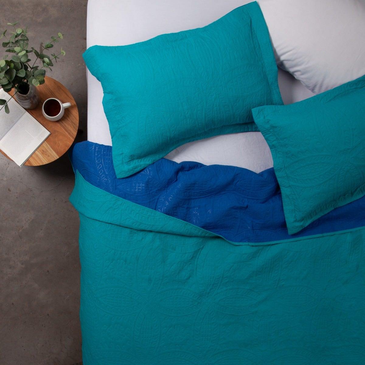 Quilt   2 Plazas Bicolor Turquesa Azul